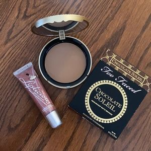Too faced chocolate bronzer+ pancake lipgloss